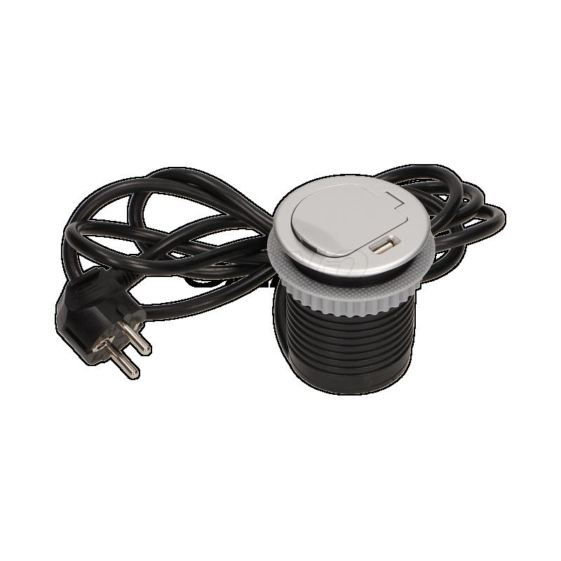 ORNO Gniazdo meblowe Ø6cm wpuszczane w blat z pokrywką, ładowarką USB i przewodem 1,8m, 1x2P+Z, 1xUSB; OR AE 1373