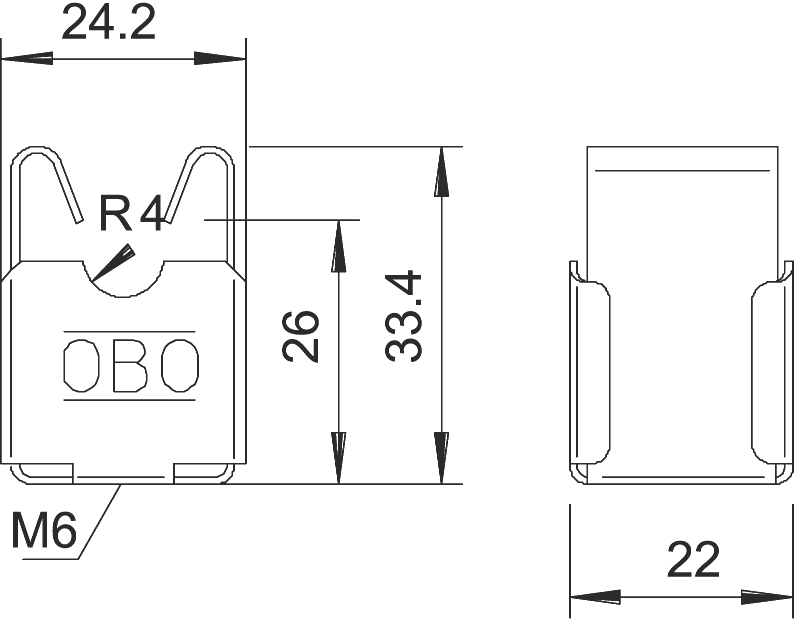 OBO Bezśrubowy uchwyt przewody odgromowego 177 20 VA M8, Rd 8mm, h=20mm, otwór: M8, stal nierdzewna; 5207347