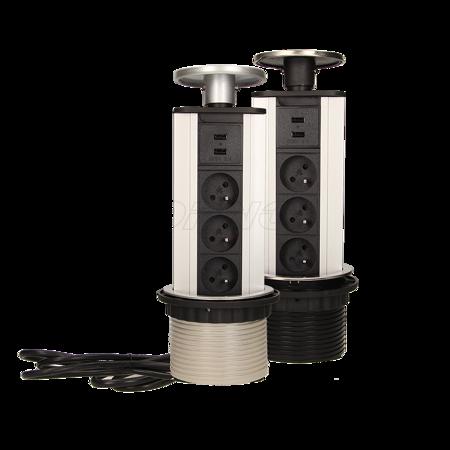 ORNO Gniazdo meblowe 10cm, 3x250V AC wysuwane z blatu z ładowarką USB i przewodem 1,8 m srebrne  OR-AE-1353