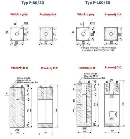 VALMONT Fundament betonowy F-100V/30 200X200/M-18 (P-B)