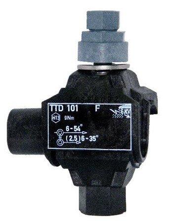 Zacisk dwustronnie przebijający izolację TTD 101 FA (linia główna - 6-50 mm2; odgałęźna - (2,5)6-35 mm2)